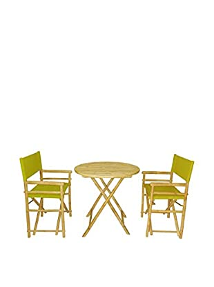 ZEW, Inc. Round Table & Director Chair Set, Olive Green