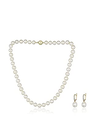 Bentelli Conjunto de collar y pendientes 9K Gold 0.09Ct Diamond Pearls Oro Blanco / Oro