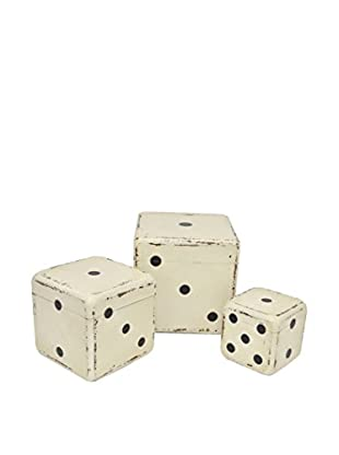 Three Hands Box Set of 3 Wood Dice, White