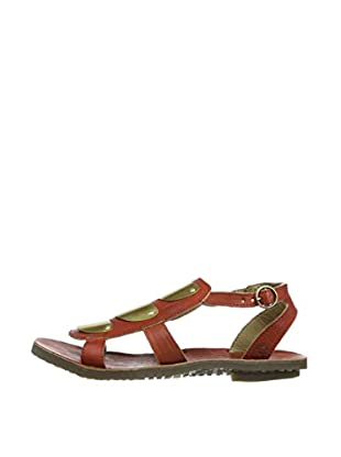 Fly London Sandalias Bly Gladiator (Rojo / Dorado)