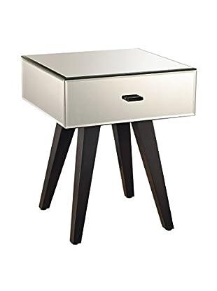 Artistic Modern Glam Side Table, Mirror/Arabica