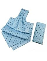 Orosilber Navy Dots On Sky- Blue Cravat With Pocket Square Set