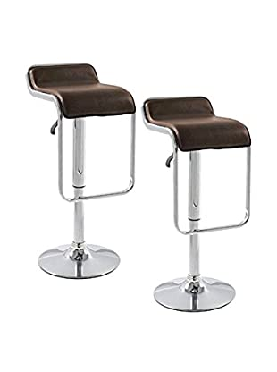 Manhattan Living Set of 2 Flat Bar Stool Chairs, Brown