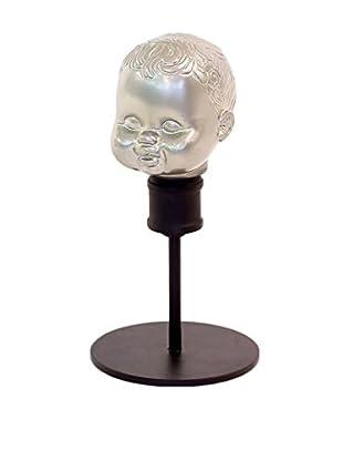 Go Home Small Vintage Doll Head Form, Silver/Black