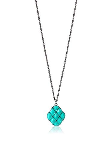 Tuleste Market Tufted Pendant Necklace, Gunmetal/Turquoise