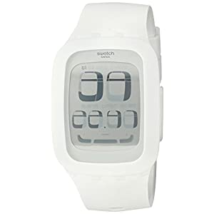 Swatch Alarm Digital White Dial Men's Watch - SURW100