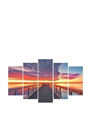 LO+DEMODA Leinwandbild 5 tlg. Set Pier At Sunset