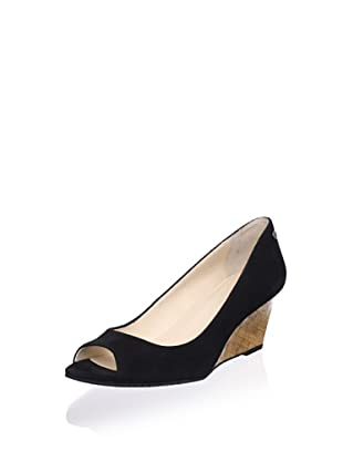 Calvin Klein Women's Shelley Peep-Toe Wedge (Black)