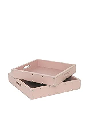 Three Hands Set of 2 Pink Wood Trays