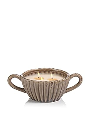 Zodax Illuminaria Citronella Scented Candle Bowl, Taupe Ribbed