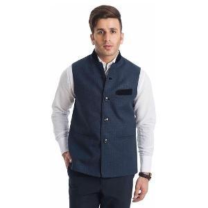 English Channel Nehru Jacket - Black & Blue