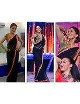 Beautiful Madhuri Dixit Designer Black Saree Bollywood replica