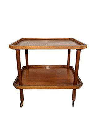 Uptown Down Previously Owned 2-Tiered Wheeled Wood Bar Cart
