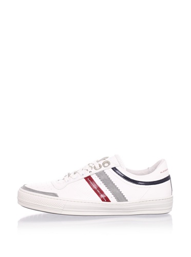 Alessandro Dell'Acqua Men's Roland Double Stripe Sneaker (White/Grey/Red)