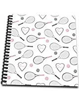 3dRose db_201737_1 Tennis Love Pattern Grey & Pink Drawing Book, 8 by 8