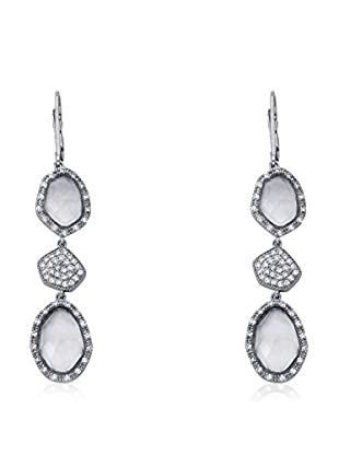 Riccova City Lights Faceted Glass & CZ Pavé Triple Drop Earrings, Silver