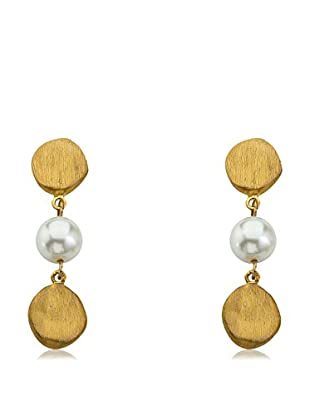 Riccova Arctic Mist Brushed 14K Gold Plated Nugget Pearl Nugget Dangle Earrings