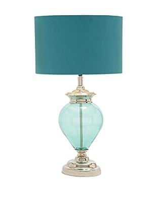Glass & Chrome Table Lamp, Teal