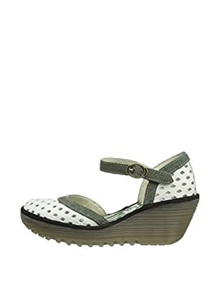 Fly London Zapatos Yana Perf (Blanco / Gris)