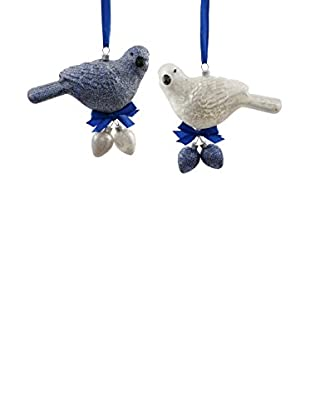Winward Set of 2 Handcrafted Bird With Egg Ornaments, Blue/White