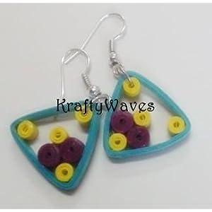 Krafty Waves Paper quilled Earrings - Blue, Purple & Yellow