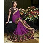 Purple & Brown Designer Georgette Embroidery work Sarees With Blouse Piece