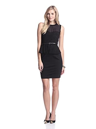 Elie Tahari Women's Aviva Dress with Cutout Suede (Black)
