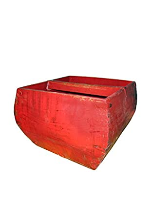 Asian Loft Handcrafted Hebei Rice Measurement Container, Red