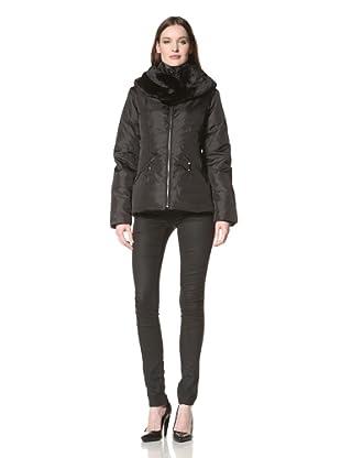 Sam Edelman Women's Down Coat with Faux Fur Collar (Black)