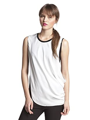 Elie Tahari Women's Jessica Sleeveless Blouse (White/Black)