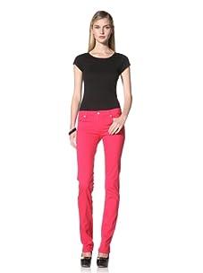 David Kahn Women's Niki Straight Leg Jean (Pink Mcgee)