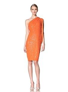 Naeem Khan Women's One Shoulder Beaded Dress (Orange)
