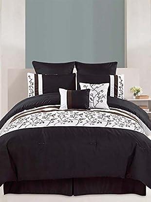 Luxury Home Melbourne Embroidered 8-Piece Queen Comforter Set, Black