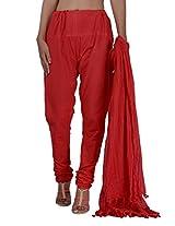 Jaipur Kala Kendra Women's Churidar Pant Dupatta Set (11000_Rust_Large)