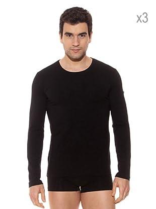 Pierre Cardin Pack x 3 Camisetas M / Larga (Negro)
