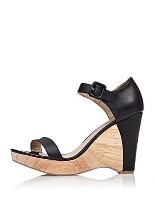 Cortefiel Keil-Sandalette Legno (Schwarz)