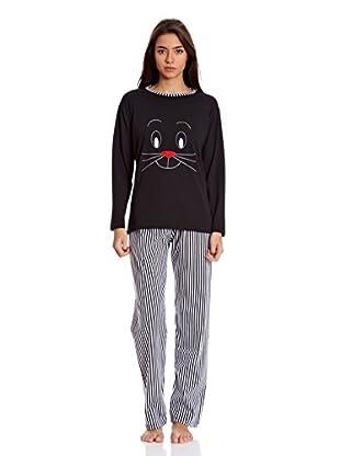Muslher Pijama Señora Con Cuello Redondo Tira Composicion (Negro)
