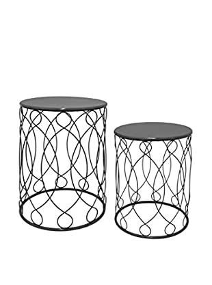 Three Hands Metal Set of 2 Accent Tables, Black