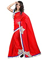 7 Colors Lifestyle Red Coloured Super Net Embroidered Saree