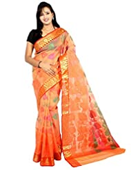 Bunkar Banarasi Ethnic Net Saree With Blouse Piece_1292OR-PEACH