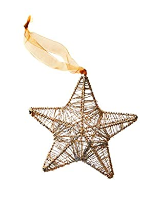 Wired Star Ornament With Glitter, Gold