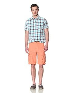 Tailor Vintage Men's Reversible Short Sleeve Shirt (Aqua Kiwi/Gingham Plaid)
