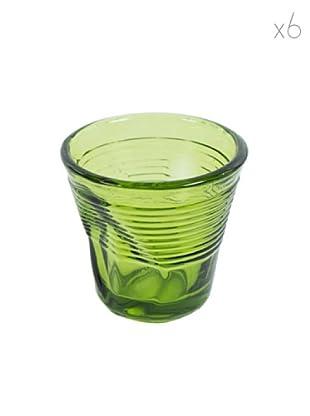 Kaleidos Set 6 Bicchieri Accartocciati 115 ml (Verde)