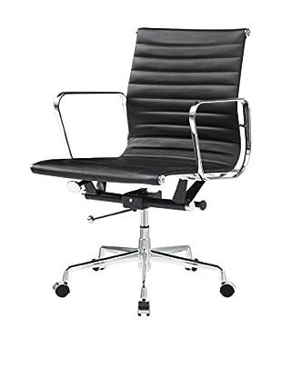 Manhattan Living Togo Mid Back Chair, Black