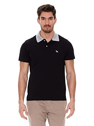 Jack Russell Polo Cuello Contraste (Negro / Gris)