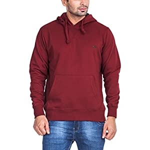 Zovi Cotton Polyester Crimson Red Solid Sweatshirt With Hoodie And Kangaroo Pocket (11045202001_X-Large)