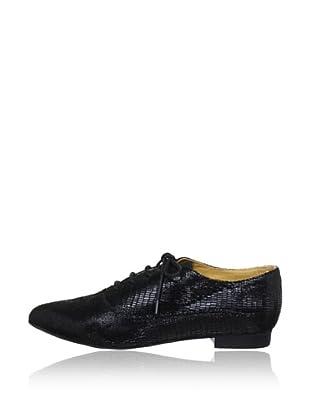 Buffalo London 212-1304 LIZARD LEATHER 139879 - Zapatillas clásicas de cuero  mujer (Negro)