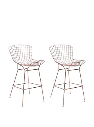 Zuo Set of 2 Wire Bar Chairs, Rose Gold