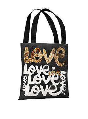 Oliver Gal Four Letter Word Tote Bag, Black/Gold