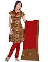 Kala Sanskruti Women Cotton Satin Bandhani Brown Dress Material